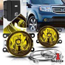 Yellow Lens Fog Light Bumper Lamps w/Switch+Harness+Bezel for 12-15 Honda Pilot