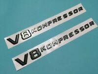 2x V8 KOMPRESSOR Noir emblème lettres voiture arrière logo signe tronc voiture