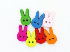 Rabbit Wooden Button Children Green Blue Pink Colorful Sew On Wood 11mm 20pcs