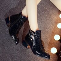 Ladies Ankle Boots Block Heels Buckle Strap Pointy Toe Casual Shoes Autumn Size