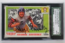 George Savitsky (d.12) Philadelphia Eagles CHOF UPenn Autographed 1955 Topps SGC