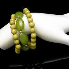 3 Vintage Bracelets Mid Century Acrylic Lucite Beads Olive Green Mod Style