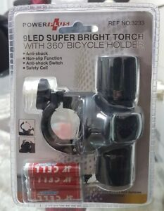 bicycle flash light 9 led super bright torch with 360 bicycle holder