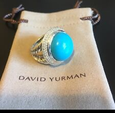 David Yurman Round Ring With Turquoise And 2 Rows Of Diamonds Size 6