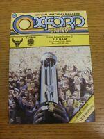 15/09/1984 Oxford United v Fulham  . Footy Progs (aka bobfrankandelvis) are plea