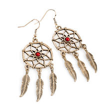 Antique Rose Gold Coral Bead Dream Catcher Earrings Ladies Jewellery
