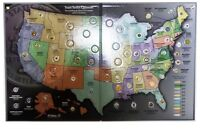 """Complete 56-coin """"P"""" State Quarter Series Set with State &Territory  Quarter Map"""
