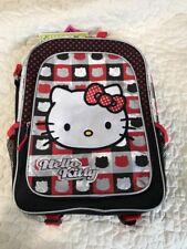 "Hello Kitty Sanrio Book Bag Backpack Polka Dots Red/ Black/ Silver 16"" Cute NWT"