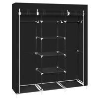 "69"" Clothes Closet Non-Woven Fabric Wardrobe Double Rod Storage Organizer Black"
