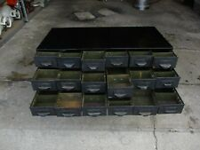 Vintage Machine Age Industrial Metal 18 Drawer Parts Storage Cabinet Army Green
