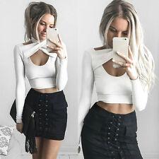 Summer Women Tank Tops Vest Blouse Fashion Casual Long Sleeve Crop Tops Shirt U8