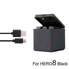 Triple Battery Charging Charger Box + Type-C Cable for GoPro Hero8 7 6 5 Battery
