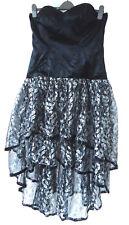 Black Satin Metalic Net Leaf Pattern Tiered Maxi Party Dress 45cm bust w ribbing