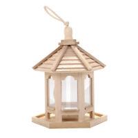 Oiseau en Bois Mangeoire Suspendu Hexagone Forme de avec Toit pour Jardin Décor