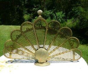 "Vintage Brass ""Peacock"" Style Folding Fan Fireplace Screen Clam Shell Design"