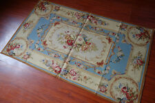 3' X 5' So Beautiful Blue Beige French Palace Rose Floral Needlepoint Rug #25