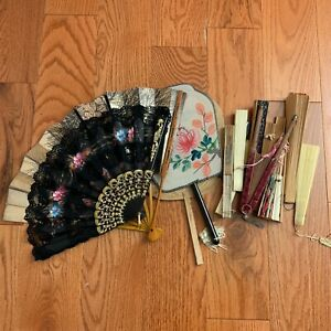 Lot Of 15 Hand Fans Folding Asian Style & More!