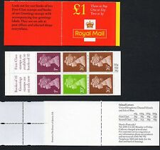 Gb 1998 £1 folded booklet Sgfh41 no overseas table,pane Y1760L mint stamps