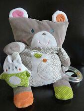 *DOUDOU COUSSIN OBAIBI PLAY OURS chat lapin anneau billes gris blanc orange vert