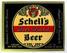 August Schell SCHELLS DEER BRAND BEER label MN 12oz 3.2% ABW max