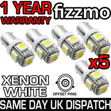5x 5 SMD LED XENON WHITE SIDE LIGHT BULB 433 434 H6W BAX9S BAYONET 360 DEG UK