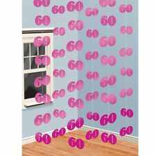 6 x 7ft Pink 60th Birthday / Anniversary Hanging String Banner Party Decorations
