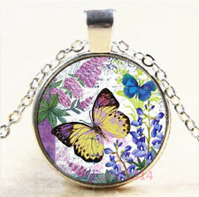 Flower Butterfly Cabochon Silver/Bronze/Black/Gold Chain Pendant Necklace #7319