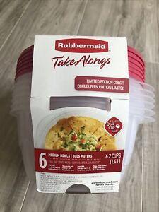 Rubbermaid  TakeAlongs  Medium Food Storage 6 Bowls W Lids Quik Clik Seal 6.2 Cu