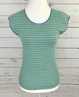Sweet Briar Top Womens Small S Green Striped Short Sleeve Stretch Blouse