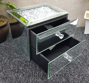NEW JEWELLERY BOX CRUSHED CRYSTAL JEWEL TRINKET GLASS  BOX GIFT 2 DRAWER FRONT