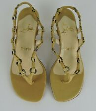 Christian Louboutin Paris Beige Sandals Metal Links and Leather Strap Size 36