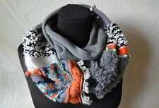 Circle knitted scarf Gray white black wool cotton scarf Handmade warm cowl neck