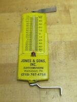 JONES & SONS EARTHMOVERS WALNUTPORT PA Vintage Advertising Thermometer Sign USA