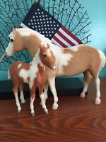 Vintage 80s Breyer MISTY of Chincoteague & Foal Palomino Pinto Paint Horses pony