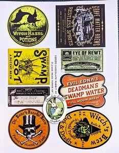 Halloween Witch Color Potion Bottle Labels, Uncut Sticker Paper, Set of 8