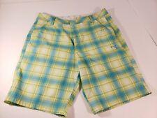 PUMA Cell Golf Mens 36  Blue Green Yellow  Plaid Flat Front Bermuda Shorts GUC
