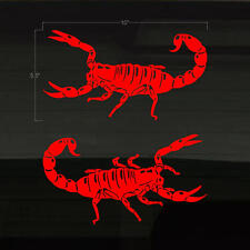 "Scorpion Scorpions Set of 2 RED Color Vinyl Decals Stickers 10"" x 5.5"" Scorpian"