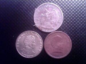 CHILE   10  CENTAVOS   1940   20 CENTAVOS 1942    10  CENTESIMOS  1971   JUL25