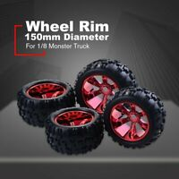4PCS RC Car Wheel Rim Tire for Redcat Hsp Kyosho Hobao 1/8 Monster Truck