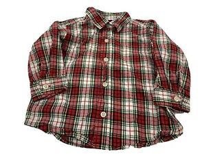 Osh Kosh Button Front Red White Plaid Toddler Shirt Size 2T