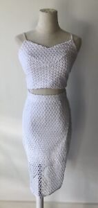 WITCHERY white knit skirt set size 8