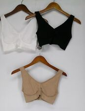 Comfortisse Size L One Size Perfect Fit Set of 3 Basic Seamless White Bra New