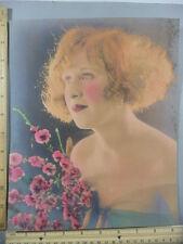 Rare Antique Original VTG Blonde Girl With Flowers Profile Color Litho Art Print