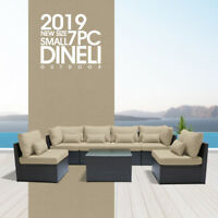 DINELI7PSmall  Outdoor Patio Furniture Rattan Wicker Sectional Sofa Chair Set LB