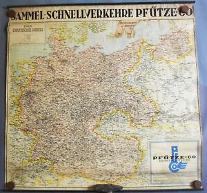 Landkarte Deutsches Reich Pfütze & Co Bahnspediteure Eisenbahn Netz 1930er