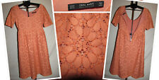 Zara Floral Coral Short Sleeve Designer Lined Lace Dress occasion block trend