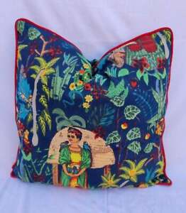 20x20 Blue Frida Khalo With Red Piping Cushion Covers Indian Sofa Pillow Case US