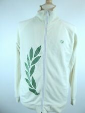 FRED PERRY IVORY GRAPHIC LAUREL LEAF FLOCKED ZIP FRONT JACKET TOP M