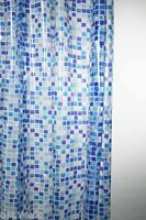 Blue Peva Mosaic Design Shower Curtain 180 x 180cm Hooks Included - SC405