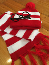 Wheres Wally 3 pce costume kit Glasses, Beanie, scarf, Book week adult or Kids